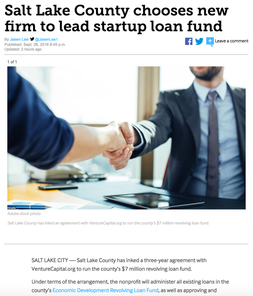 VentureCapital.org featured in the Deseret News for winning a contract to run Salt Lake County's $7 million revolving loan fund. (Link to the original story: http://bit.ly/2cAhYbD.)