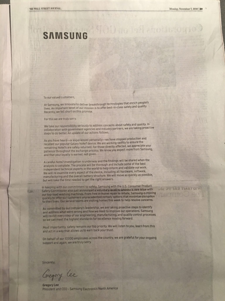 Samsung Crisis Communications ad, Wall Street Journal, 11–07–16