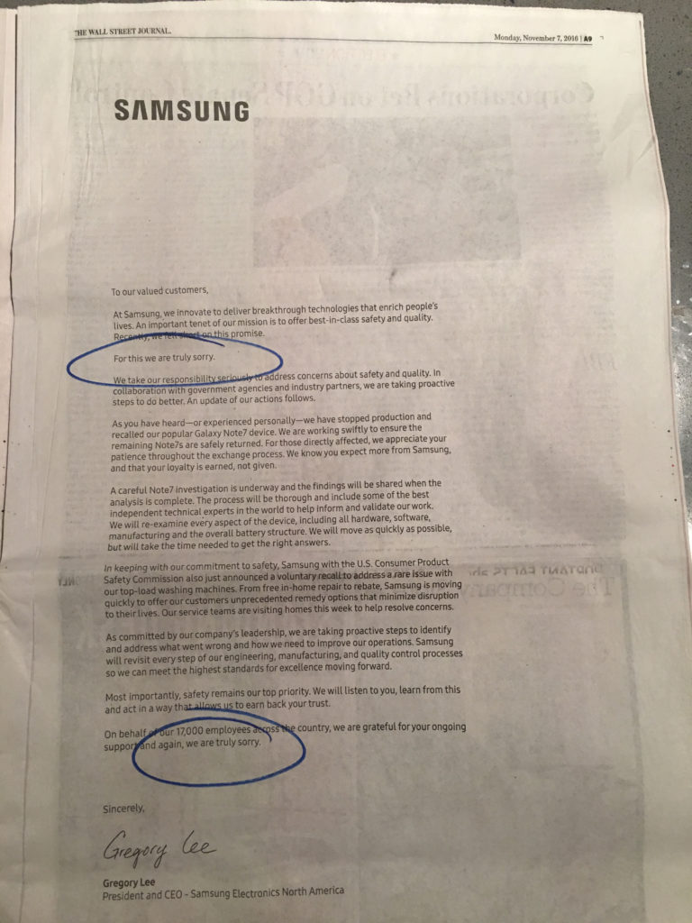 """Samsung's """"Truly Sorry"""" Crisis Communications ad, Wall Street Journal, 11–07–16"""