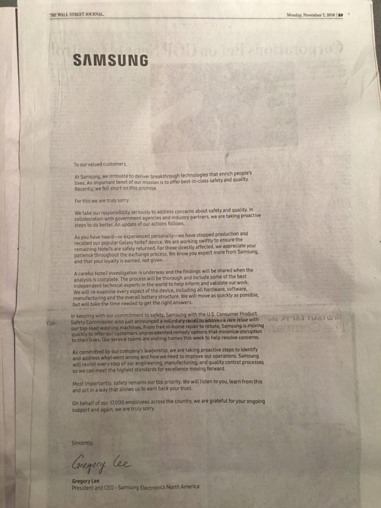 Samsung Crisis Communications ad, Wall Street Journal, 11–07–16