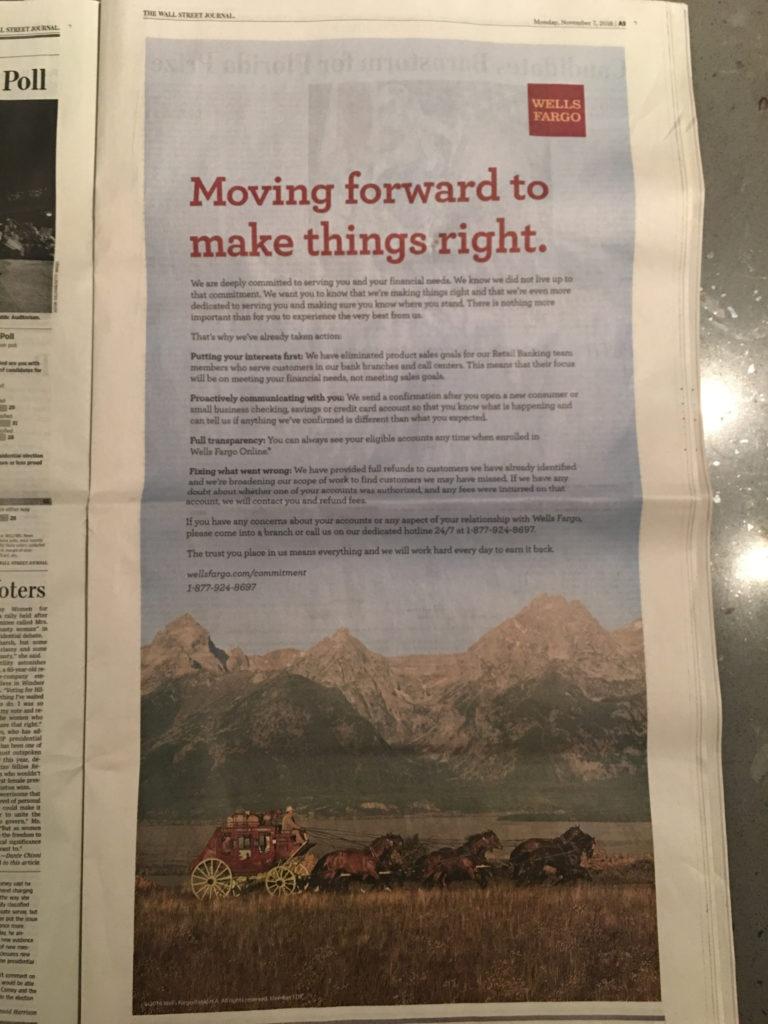 Wells Fargo Crisis Communications ad, Wall Street Journal, 11–07–16